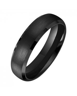 Tom Jaxon heren ring Wolfraam Mat Zwart 6mm