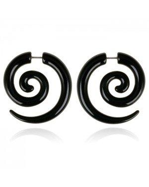 Tribal bone oorbellen Black Spiral