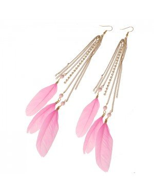 Veren oorbellen Feather Rhinestone Pink Gold