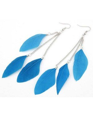 Veren oorbellen Summer Feather Blue