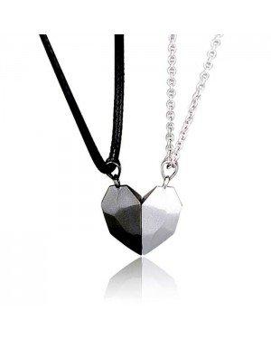 Vriendschapsketting Magnetisch Facet hart Zwart Zilverkleurig