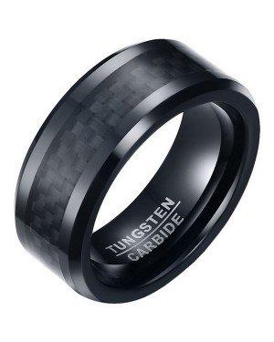 Wolfraam heren ring Carbon Fiber Zwart 8mm