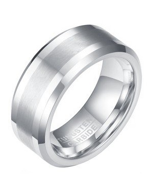 Wolfraam heren ring Geborstelde streep 8mm