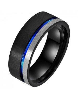 Wolfraam heren ring Groef Zwart Zilverkleurig Blauw
