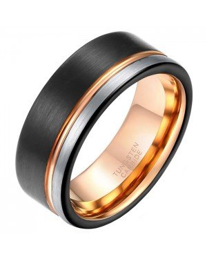 Wolfraam heren ring Single Groove Black Rose Silver 8mm