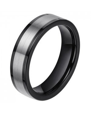 Wolfraam heren ring smal model Zwart Zilverkleurig 6mm