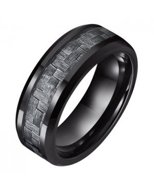 Wolfraam heren ring Tom Jaxon zwart Glans Carbon Fibre Inlay