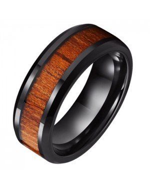 Wolfraam heren ring Tom Jaxon zwart Glans Palissander Inlay