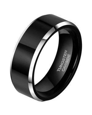 Wolfraam heren ring Zwart Zilver 8mm