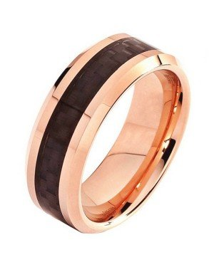 Wolfraam ring Carbon Fiber Rose Zwart 8mm