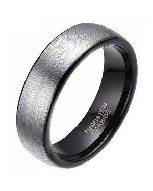 Wolfraam ring geborsteld zilver met Zwart 6mm