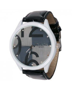 Womage Fashion horloge Big Dial Black Silver