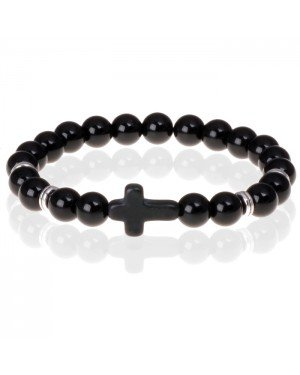 Zwarte kralen armband Onyx met Kruis
