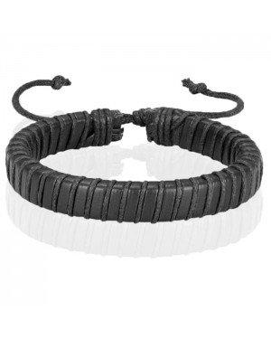 Zwarte leren armband LGT Jewels Verstelbaar Touw