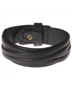 Zwarte leren armband met gesneden leer