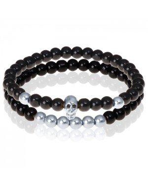 Zwarte Onyx kralen armband Zilverkleurige Skull