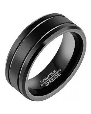 Zwarte Wolfraam heren ring 8mm