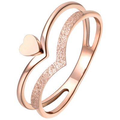 LGT Jewels Dames ring Edelstaal Rose Kroon Hartje
