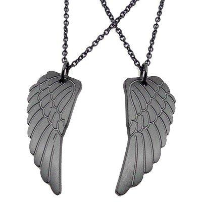 LGT Jewels liefdes ketting Edelstaal Angel Wing Zwart