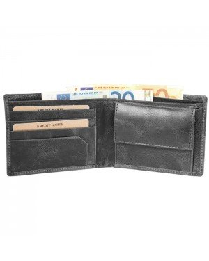 Akzent leren heren portemonnee RFID Zwart