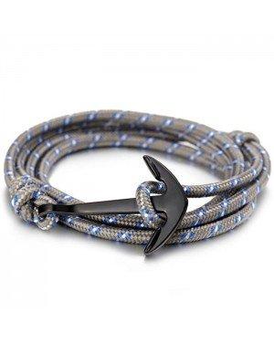 Anker armband polyester koord Grijs met Zwart