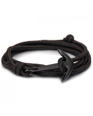 Anker armband zwart polyester koord