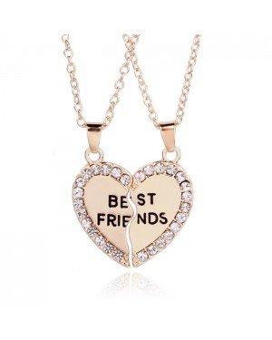 BFF Ketting LGT Jewels Best Friends Hartje Kristallen Goudkleurig