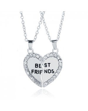 BFF Ketting LGT Jewels Best Friends Hartje Kristallen Zilverkleurig