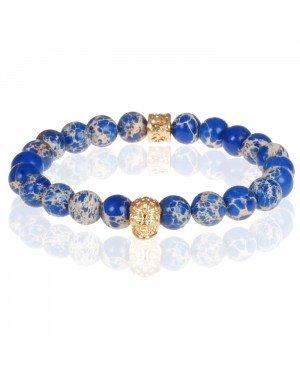 Blauwe kralen armband Natuursteen Doodshoofd