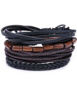 Leren armbanden set met houten kralen zwart bruin