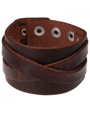 Brede leren armband voor mannen Vintage Brown