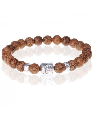 Bruine houten kralen armband zilverkleurige Buddha