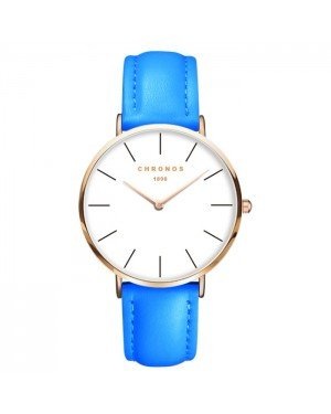 Chronos dames horloge Blue White Rose