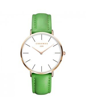 Chronos dames horloge Green White Rose