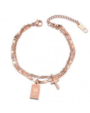 Cilla Jewels Dames Armband Dubbel met Bedels Rose