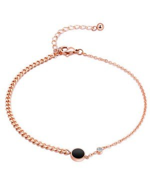 Cilla Jewels Dames Enkelband Black Disc met Zirkonia Rose