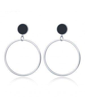 Cilla Jewels Dames oorbellen Circles Zilverkleurig met Zwart