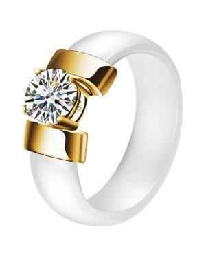 Cilla Jewels dames ring Keramiek Wit met Goud