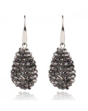 Cilla Jewels Druppel oorhangers Kristal Antraciet