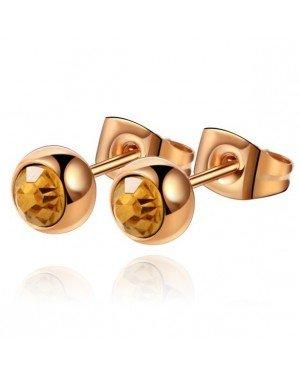 Cilla Jewels oorstekers Rose Edelstaal Gele steen