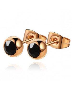 Cilla Jewels oorstekers Rose Edelstaal Zwarte steen