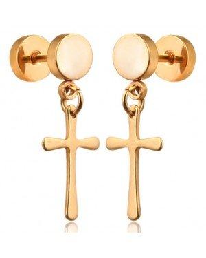 Cross Stud oorbellen Titanium Gold