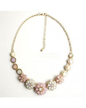 Dames Choker Gold Pink flower