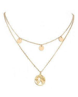Dames ketting Multi Layer World Map Rose