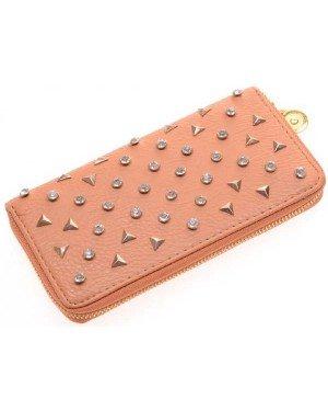 Dames portemonnee Spikes Bruin met goud E-B24.4