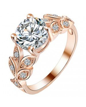 Dames ring LGT Jewels Crystal Leaf Rose