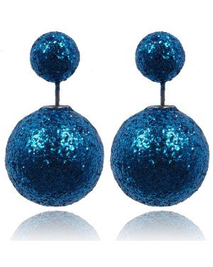Double Dots oorbellen Shiny Blue