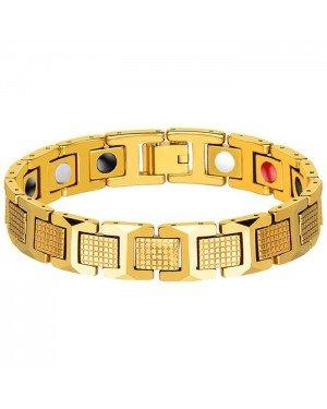 Edelstaal heren armband Magneten Goudkleurig