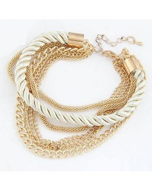 Fashion armband Metal Chain Braided rope Beige