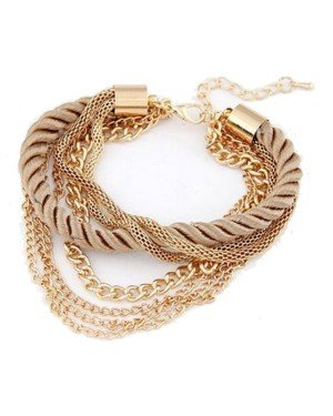 Fashion armband Metal Chain Braided rope Goud